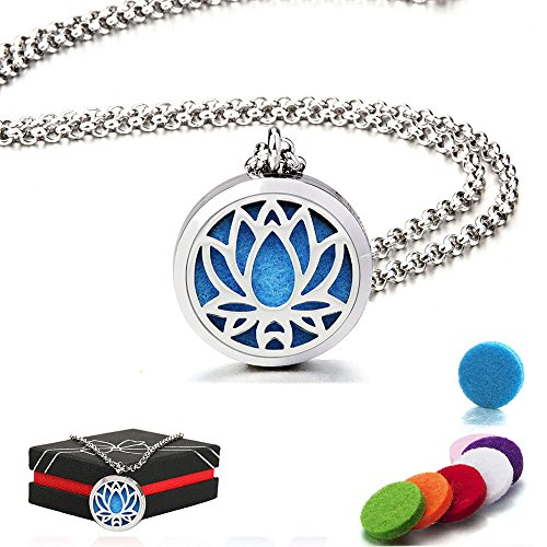 Lady Locket - Aromatherapy Essential Oil Diffuser Necklace, Perfume Hypo-Allergenic Stainless Steel Locket Pendant with 24