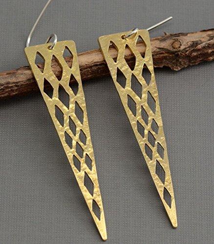 Long gold brass triangle spike arrow dangle earrings hypoallergenic nickle free