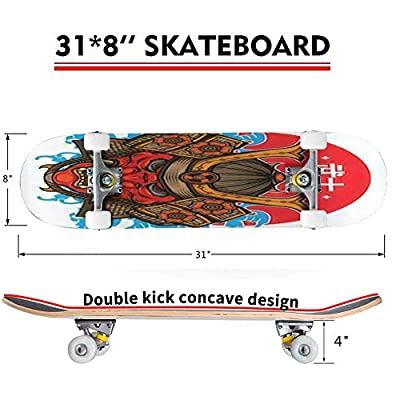 Classic Concave Skateboard Samurai Hannya mask Tattoo, Vector EPS 10 Longboard Maple Deck Extreme Sports and Outdoors Double Kick Trick for Beginners and Professionals : Sports & Outdoors