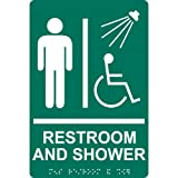 ComplianceSigns ADA Acrylic Tactile + Braille Mens / Boys Restroom Sign, 9 x 6 with English + Braille, Pine Green