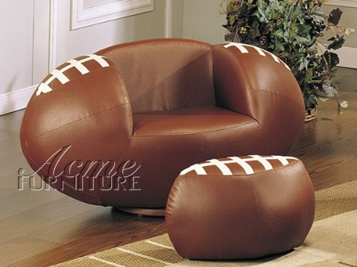 (Football Shape Swivel Chair with Ottoman Acs005526)