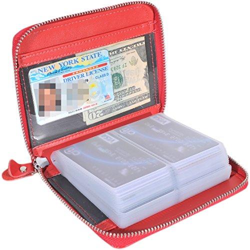 Large Passport Case - Large Credit Card Holder Wallet Genuine Leather Passport Holder 42 Card Slots (Red)