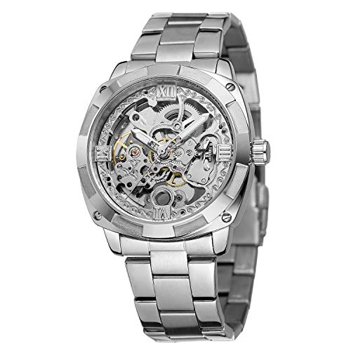 FORSINING Men's Military Silver Automatic Self-Wind Mechanical Wristwatch with Stainless Steel Bracelet