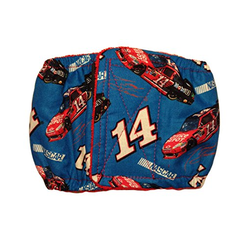 Male Dog Diaper - Made in USA - Washable Belly Band Male Wrap Made from Nascar 14 Fabric, M for Territorial Marking, Excitable Peeing and Urinary Incontinence