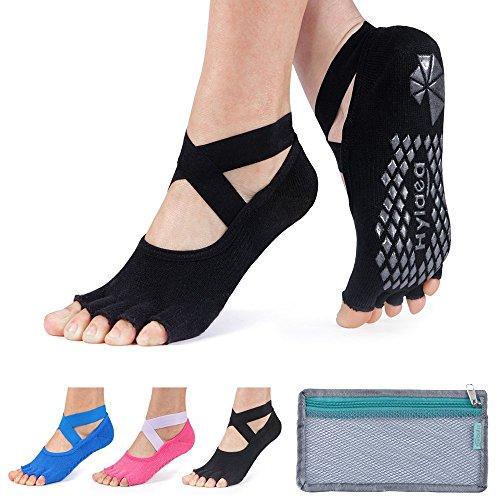Hylaea Yoga Socks for Women with Grip & Non Slip Toeless Half Toe Socks for Ballet, Pilates, Barre, Combed Cotton