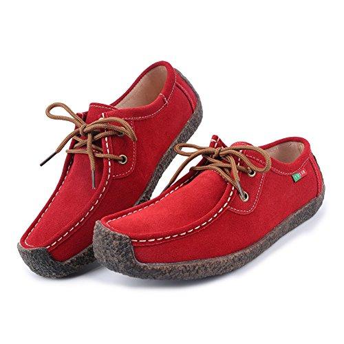 L-RUN Women's Cute Causal Suede Walking Flat Shoes Fashion Red Sneaker 10.5 M US