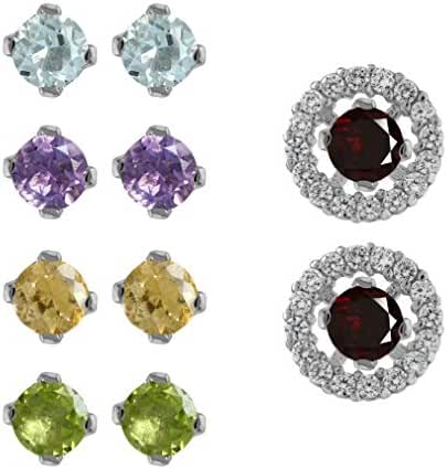 5-Pair Set Multi Colored White Gold Plated 925 Sterling Silver Interchangeable Halo Stud Earrings