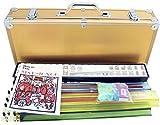 4 Pushers + Brand New Complete American Mahjong Set in Gold Case, 166 Tiles (mah Jong Mah Jongg Mahjongg)