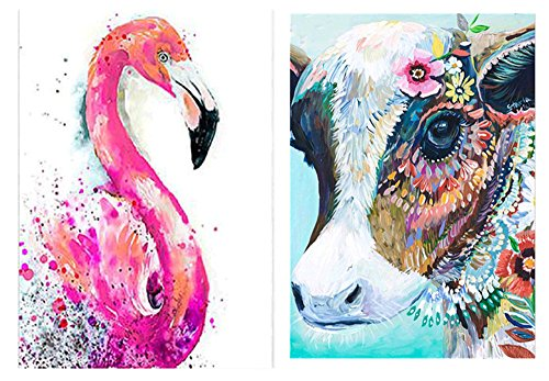 JETTINGBUY Colorful Cow + Flamingo Diamond Painting DIY Kit, DIY 5D Diamond Painting, Rhinestone Painting Craft Supply for Art Craft DIY Home Decoration (Without Frame) by JETTINGBUY