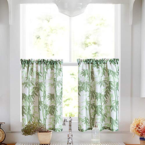 Waffle-Weave Textured Tier Curtains for Kitchen Water-Proof Window Curtains for Bathroom (72-inch x 36-inch, Bamboo, Two Panels) (Panels Window Bamboo)