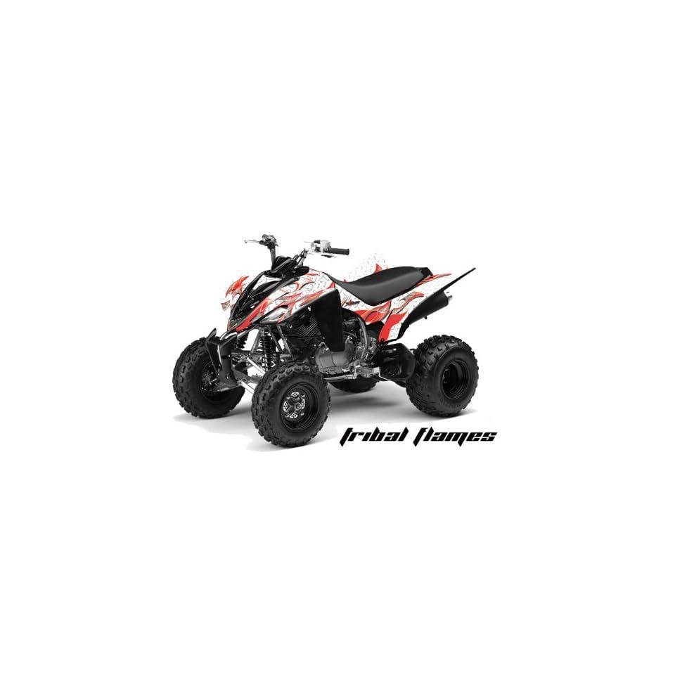 AMR Racing Yamaha Raptor 350 ATV Quad Graphic Kit   Tribal Flames White, Red