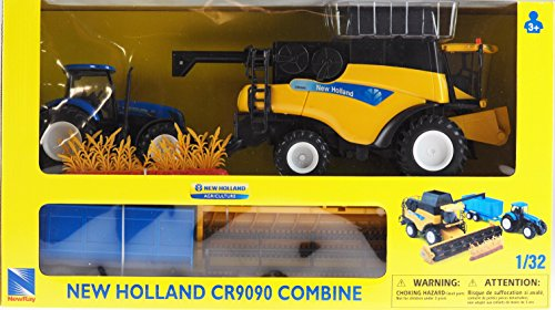 New Ray 1:32 Scale New Holland Combine, Tractor And Trailer