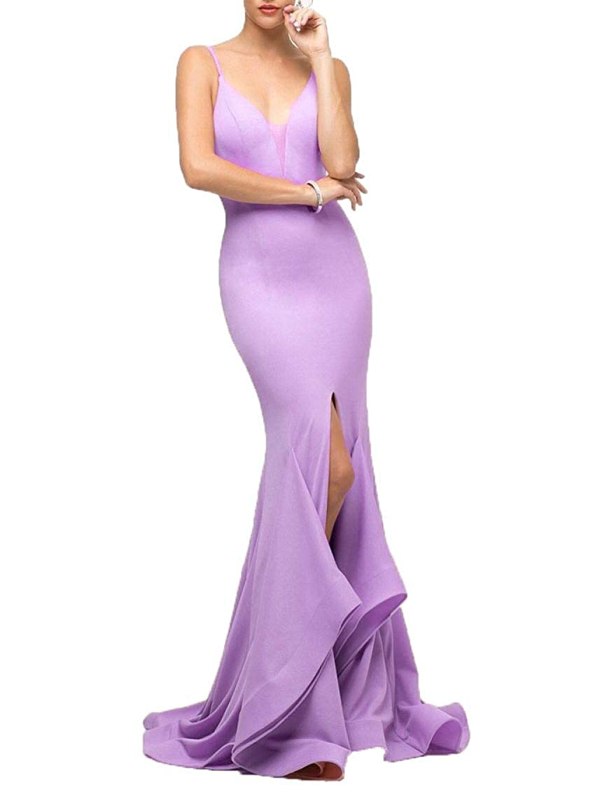 Lavender Wanshaqin Women's Sexy Knit Crepe Maxi Long Evening Gown Prom Formal Dress Bridesmaid Gown for Events Party