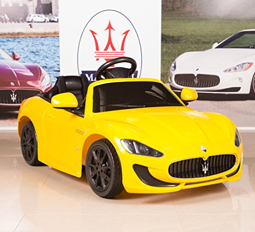 12V-Electric-Kids-Ride-On-Car-Maserati-GranCabrio-with-RC-Remote-Painted-Yellow