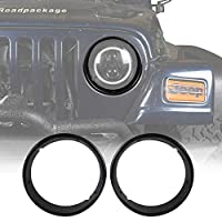 Hooke Road Jeep TJ Bright Black Headlight Bezels Cover Trim for 1997-2006 Jeep Wrangler TJ (Pair)