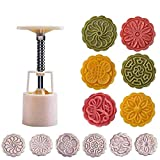 Xlala Mooncake Mold Flower Mid-Autumn Festival Hand Press Moon Cake Cutter Molds Set Food Baking Tools Accessories Bakeware Kitchen Utensils Gadgets Cookie Equipment Tools (A)