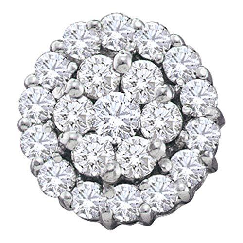 (Diamond Circle Frame Flower Cluster Earrings 1-1/2ct 14k White Gold)