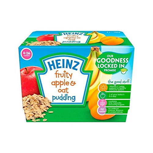 Heinz Fruity Pudding Apple & Oat 4-36 Mths 4 x 100g - Pack of 2