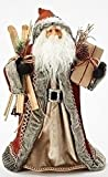 "19"" Stylish Red and Gray Santa Claus Holding Wooden Skis Tree Topper"