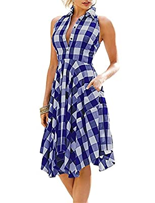 MNXNEZ Women Sleeveless Side Pockets Plaid Pleated Casual Shirt Dress Graceful