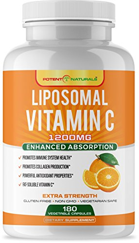 LIPOSOMAL Vitamin C - 1200MG Dietary Supplement | 180-Capsules/Pills | High Absorption & Fat-Soluble VIT C, Powerful Antioxidant & Immune System Support, Non-GMO, Soy & Gluten Free, Made in USA