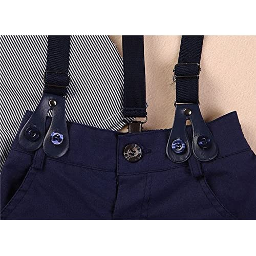 Amberetech Baby Boys Suspender Shorts Suit Denim Overalls Outfit Cotton Short Sleeve Dress Shirt Two-Piece Suits