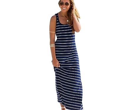 e8bd30456bd ZKOO Damen Gestreiftes Ärmelloses Sommerkleider Kaufen Rundhals Ausschnitt  Kleider Wadenlange Strandkleider Beachwear Urlaub Party Langes Kleid  Casual  ...