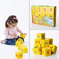 Building Blocks for Toddlers Educational Toys - 12 Math-themed Foam Blocks - Colored Squeeze Toys Stacking Blocks - Washable Activity Cube - 100 % Cotton Non - Toxic Baby Blocks Toys for 1 Year Old