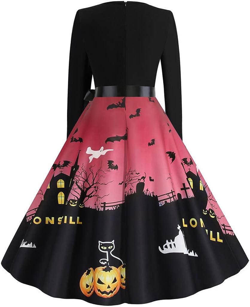 Halloween Womens Maxi Dress Vintage Long Sleeve O Neck Bow Knot Printing Hem Hepburn Dress