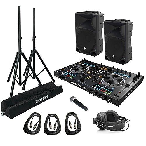 Portable DJ Mixing Bundle w/ Mackie Thump15 1000 Watt Loudspeakers, Denon DJ MC4000 DJ Controller, Speaker Stands, Microphone and Headphones (Dj Speaker Bundle)