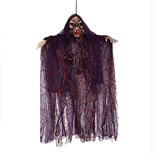 (Rely2016 Halloween Decoration Hanging Ghost, Sound & Touch Activated Scary Flying Witch Ghost Horror Devil Wizard Figurine Ornament with Sounds and Flashing Eyes for Halloween Party Decor)
