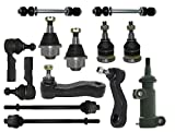 PartsW 13 Piece Suspension Kit Ball Joints Tie Rod Ends Pitman Idler Arms & Sway Bar Links, Steering Set
