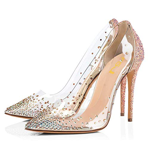 FSJ Women Studded Pointed Toe Transparent Pumps High Heels Slip On Clear Prom Party Dress Shoes Size 9.5 Rosy Gold-Glitter