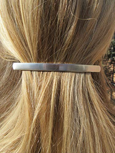 - Long Thin Sleek Brushed Silver Barrette minimal Hair Clip Boho Chic slide Simple classic Mod Ponytail Holder classic accessory Gift for her