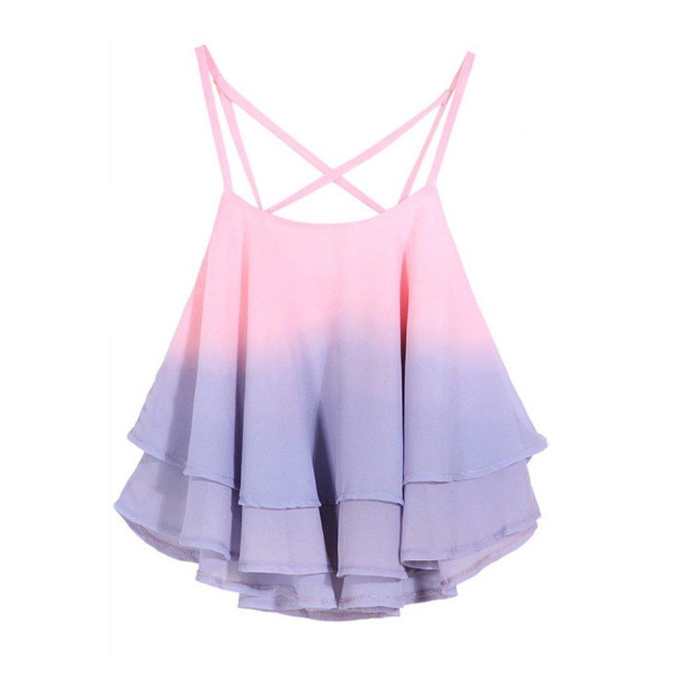 Petite Girls Women Sleeveless Cami Vest Spaghetti Strap Double Layer Tank Top (pink) QIYU2017676