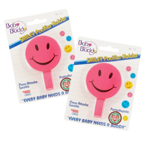 Baby Buddy 2 Piece Smiley Pacifier Holder for Boys & Girls, Pink, 4 Months and Up