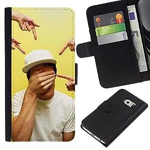 For Samsung Galaxy S6 EDGE Case , Pointing Closed Eyes Art - la tarjeta de Crédito Slots PU Funda de cuero Monedero caso cubierta de piel