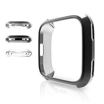 ZUOYI Fitbit Versa Funda, Protector de Pantalla Cubierta Protectora Completa Carcasa para Fitbit Versa Smartwatch,Negro