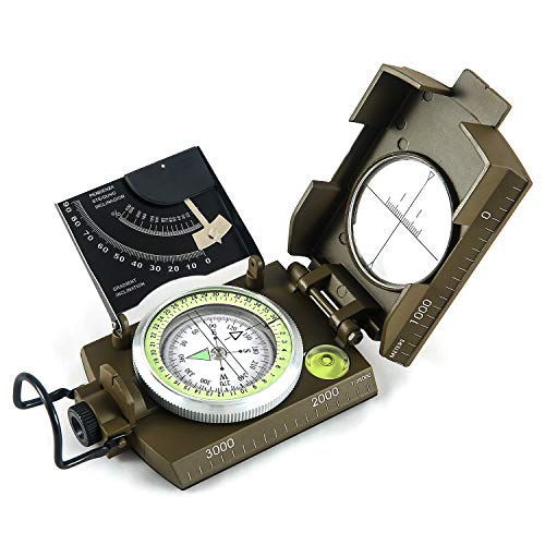 - Eyeskey Multifunctional Military Metal Sighting Navigation Compass with Inclinometer | Durable Impact Resistant and Waterproof Instrument for Hiking, Camping, Geography, Boy Scout (Green)