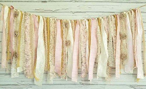 Pink & Gold Shabby Chic Garland Rag Tie Banner: ~ Photo Shoot ~ Wedding ~ Birthday ~ Nursery ~ Bridal Shower ~ Highchair Banner ~ Gender Reveal Parties ~ Decorations ~ Wall Hanging! ()