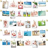 PHOTO DISPLAY - FAMILY WALL - Self Adhesive 3M System - Easy Install - No Holes Drilling - Hanging Display - Natural Wood - 10 Wall Button Holders - 30 Mini Wooden Pegs - 20ft White Twine