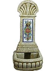 DEGARDEN AnaParra Fuente de Pared Azulejos para Jardín o Exterior de hormigón-Piedra Artificial   Fuente de Agua de hormigón-Piedra 44 x36 x98cm.   Fuente de Pilón Exterior con Grifo, Color Ocre