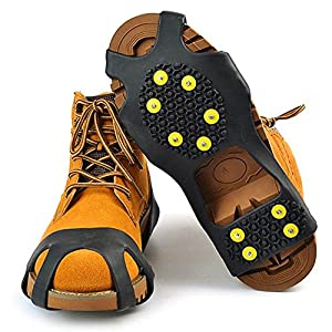 Go Ice Shoes Black | Superb Slip On Stretch Fit Ice and Snow Grips Traction Cleats with 10 Anti Slip Steel Studs / Spikes / Crampons | Premium TPE Material | US Women 5 To 7 or US Men 3 To 5 Size