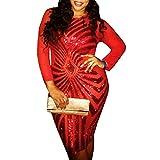 pinda Sexy Red Plus Size Bodycon Dress Women Sequin Geometric Pattern Dress (2XL, Red)