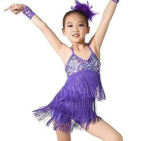 - 51jxOAmx5eL - MiDee Latin Dress Dance Costume 3 Colors Camisole Sequins Tassels Skirt for Girls