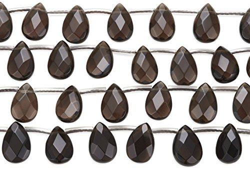 2 Strands 15 1/2 Inch Smokey Quartz Faceted Teardrop Gemstone Beads 8x12 mm