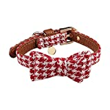Miaosun Adjustable Leather Dog Collar Style Charming Plaid Scarf for Small Pet (red plaid)