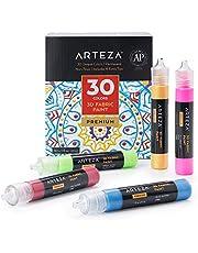 Arteza peinture textile 3D, lot de 60 tubes de 1 oz (29 ml), luminescente, vibrante, métallisée et brillante pour tissu, vêtements, accessoires, céramiques et verre