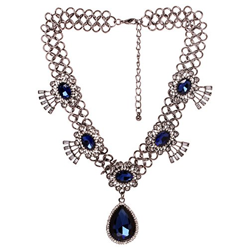 Veenajo Womens Elegant Dark Blue Faceted Eyes Teardrop Shaped Pendant Necklace Xmas Gift