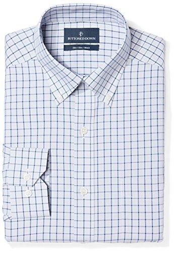 (BUTTONED DOWN Men's Slim Fit Button Collar Pattern Non-Iron Dress Shirt, Grey/Blue Windowpane Check, 17